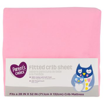 Parent's Choice Fitted Crib Sheet, Pink