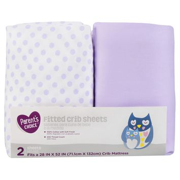 Parent's Choice Fitted Crib Sheets, Purple Feather, 2 Pack