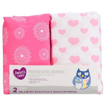 Parent's Choice Fitted Crib Sheets, Pink Print, 2 Pack