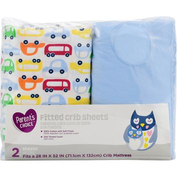 Parent's Choice Fitted Crib Sheets, Cars, 2 Pack