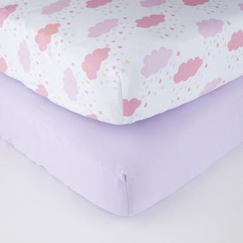 Parent's Choice Fitted Crib Sheets, Rainbow Drops, 2 Pack [name: actual_color value: actual_color-rainbowdrops]