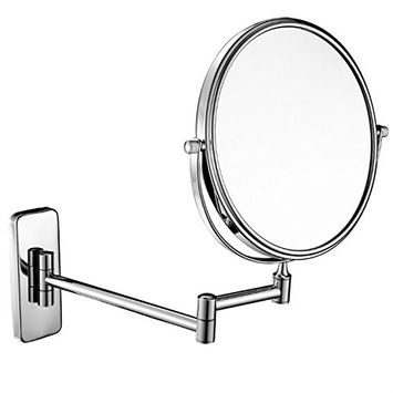 GURUN 8-Inch Double-Sided Wall Mount Makeup Mirrors with 7X Magnification, Gold Finished M1406J(8in,7X)