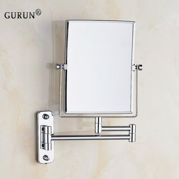GURUN 6 Inch by 8 InchTwo-Sided Swivel Wall Mount Rectangular Vanity Mirror with 3X Magnification,9.47-Inch Extension,M1401(6''3X, Square)
