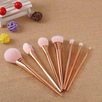 Professional Makeup Brush, Molie 7pcs Set Foundation Cream Eyeshadow Brush Kit Pink