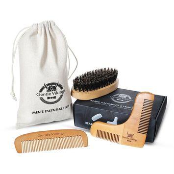 Gentle Vikings Beard Comb + Beard shaper + Mustache Brush Set - Men's Wooden Beard Shaping Tool - Exclusive Moustache, Goatee & Neckline Shaving Accessory, Styling&Unique Brush Kit