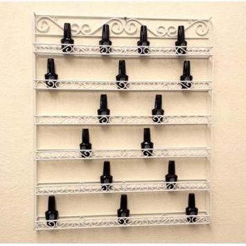 Pana White 6 Row Large Wall Mounted Metal Nail Polish Rack - Fit up to 126 Bottles