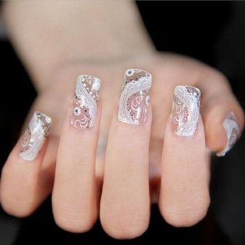 Binmer(TM)DIY Lace Diamond Flower Nail Art Stickers Decoration Bling Decal Manicure Nails Sticker Beauty Makeup Tool