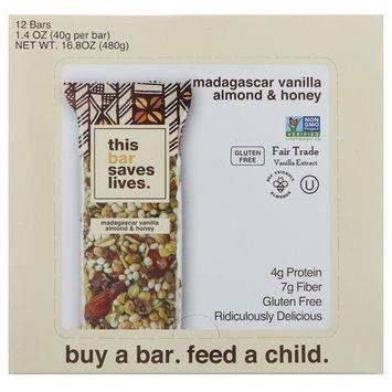 This Bar Saves Lives, LLC, Madagascar Vanilla Almond & Honey, 12 Bars, 1.4 oz (40 g) Each [Flavor : Madagascar Vanilla Almond & Honey]