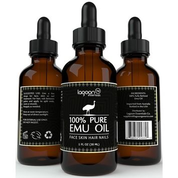 1# Emu Oil Pure 100% From Australia For Hair, Skin, Face, Nails, Wrinkles, Sunburns, Irritations, Scars, Acne, Stretch Marks, Burn Wounds and More. Bottle With Dropper.