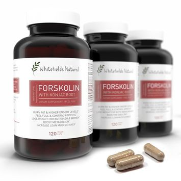 Pure Forskolin and Feel Full with Konjac, Diet Pill for Weight Loss, Helps Suppress Appetite, Burn Fat and Increase Lean Muscle Mass, 120 Capsules