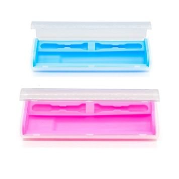 2 Pack General-purpose Plastic Travel Case for Electric Rechargeable Toothbrush (Blue,Pink)