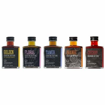 Strongwater | Signature Craft Cocktail Bitters Collection - Golden, Floral, Tamer, Orange and Cherry | 5 Bottles (3.0 fl.oz. each)