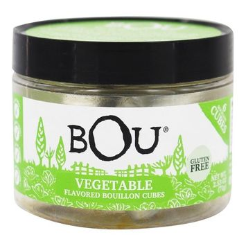 BOU Vegetable Flavored Bouillon Cubes, One 2.53 Ounce Container Packed with Natural, Traditional Ingredients [Vegetable]