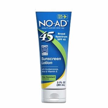 NO-AD Sunscreen Lotion, Travel Size, SPF 45, 3 fl oz