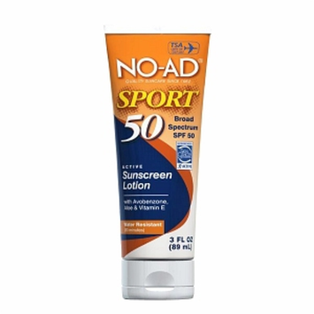 NO-AD Sport Sunscreen Lotion, Travel Size, SPF 50, 3 fl oz