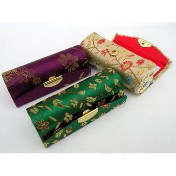 Random Colors Lipstick Case-3pcs Set Satin Silky Fabric Lipstick Case w/Mirror Random Assorted Colors 3.5