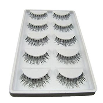 Bluelans Fashion 5 Pairs Handmade Natural Cross Eye Lashes Extension Makeup Long False Eyelashes