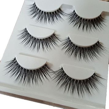 Bluelans 3 Pairs Long Cross False Eyelashes Makeup Natural 3D Fake Thick Black Eye Lashes Icycheer Soft Fake Lash
