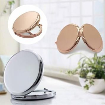 Portable Solid Color Metal Round Case Double-Side Pop-Up Pocket Makeup Mirror