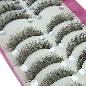 ICYCHEER 10 Pairs Long Cross False Eyelashes Makeup Natural Fake Thick Black Eye Lashes