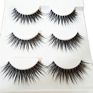 Bluelans 3 Pairs Long Cross False Eyelashes Makeup Natural 3D Fake Thick Black Eye Lashes