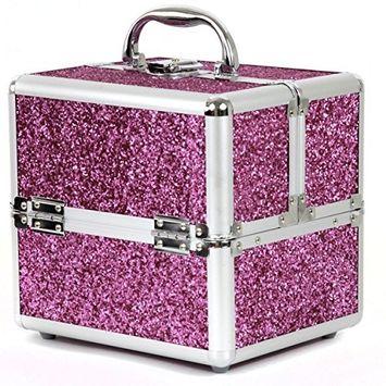 Aluminium Makeup Case to Store Organize Makeup Jewelry Nail Polish (Pink/Sparkle)