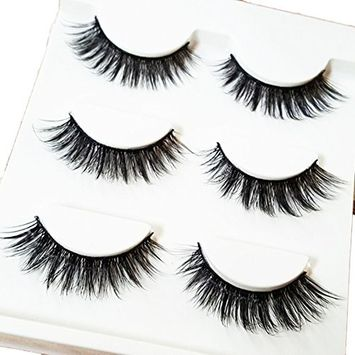 Bluelans 3 Pairs Black Mink Natural Cross Long Thick Eye Lashes False Eyelashes