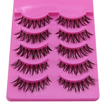 Bluelans® 5 Pairs Messy Cross Fake Eye Lash False Eyelashes Extension Makeup