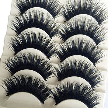 Bluelans 5 Pairs Long Thick Cross False Eyelashes Night Club Dancing Eye Lashes Handmade