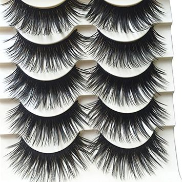 Bluelans 5 Pairs Long Thick Cross False Eyelashes Natural Brown Eye Lashes Handmade Makeup