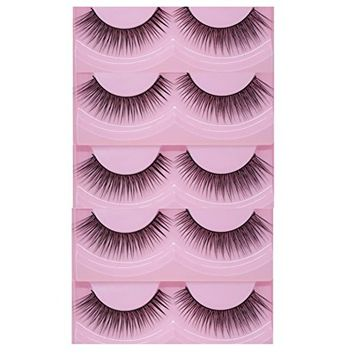Bluelans 5 Pairs Black Natural Sparse Cross Long Eye Lashes False Eyelashes Extension