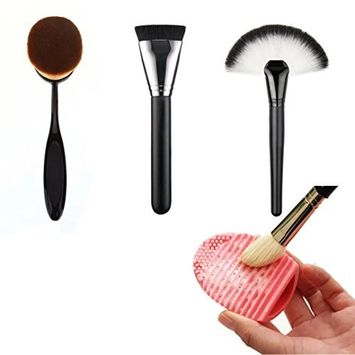 Buytra 4-Piece Makeup Brush Set with Big Oval Toothbrush Makeup Brushes,Fan Foundation Brush,Flat Brush,Makeup Brush Cleaner Egg Scrubber Board