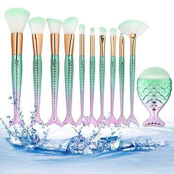 Makeup brushes, 11pcs Professional Mermaid Makeup Brushes Set Make up BrusSynthetic Kabuki Foundation Blending Blush Eyeliner Face Powder Brush Beauty Cosmetic Tools