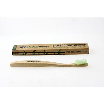 Natural Bamboo Toothbrushes by ModestPlanet™ | Individual | BPA-Free| Soft Bristles| Sustainable Material| Ergonomic & Easy Grip Design| Natural Alternative to Plastic [SOFT (Green)]