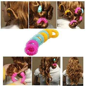 Ecurson 8 Pcs Hairdress Magic Hair Styling Roller Curler Spiral Curls DIY Tools