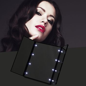 High Quality MR-L201 Super Lightweight Women Facial Makeup Mirror Folding 8 LED Mirror