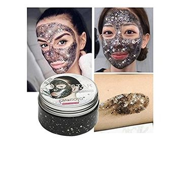 Whitening Star Mask,FTXJ 100ml Glitter Glow Star Sequin Black Face Mask Peel off Moisturize Skin Health
