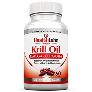 Health Labs Nutra Omega 3 Krill Oil 60 Day Supply 1000mg per Serving (2 softgels) Highest Concentration of Omega-3's 6's, 9's DHA/EPA - (Pack of 2)
