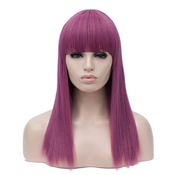 Alacos Long Straight Purple Cosplay Customes Wigs with Bangs for Kids Women Halloween Party Wigs +Free Wig Cap