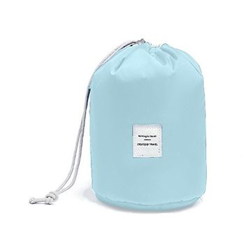 Huluwa Toiletry Bag, Multifunctional Bucket Cosmetic Bag, Waterproof Travel Makeup Pouch, Large Capacity Toiletry Organizer Storage Drawstring Bag, Light Blue