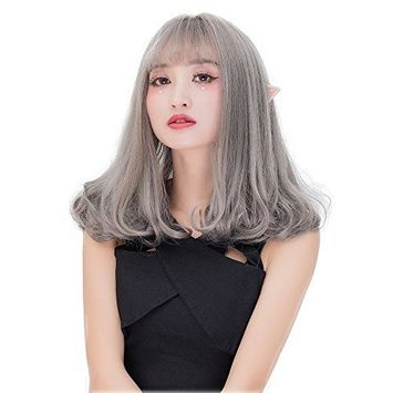 Alacos Fashion 46CM Gray Lolita Wavy Curly Christmas Anime Cosplay Costumes Wig for Women Lady Girl +Free Wig Cap