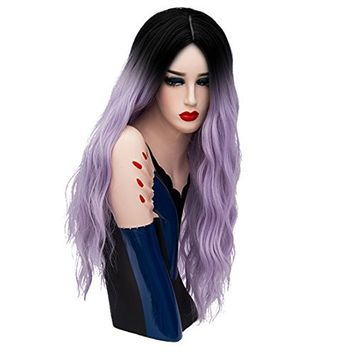 Aicos Alacos 70CM Long Wavy Curly Black Roots Ombre Synthetic Cosplay Christmas Party Costumes Wigs for Women Plus Free Wig Cap (Silver Blue-Purple)