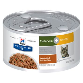 Hill's Prescription Diet Feline Metabolic and Urinary Chicken and Vegtable Stew Canned Cat Food