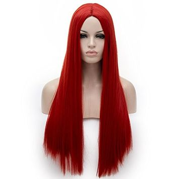 Alacos 70CM Long Straight Red Halloween Harajuku Gothic Lolita Synthetic Wig for Women Lady Girl +Free Wig Cap