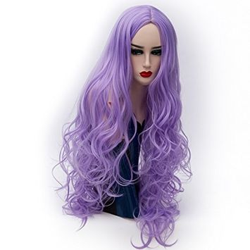 Alacos Synthetic 80CM Long Curly Center Parting Daily Basic Christmas Party Cosplay Costumes Wigs for Women+ Free Wig Cap [Light Purple]