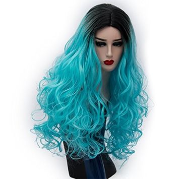 Alacos 75CM Black Roots Synthetic Long Curly Harajuku Lolita Cosplay Wigs for Women Daily Basic Hair Style +Free Wig Cap