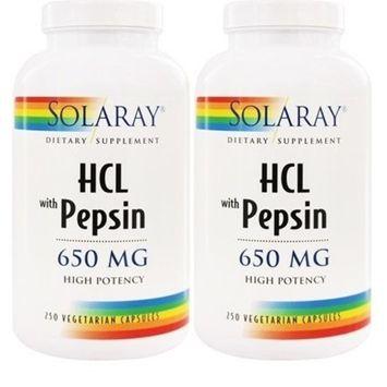 High Potency HCl with Pepsin Solaray 250 Caps