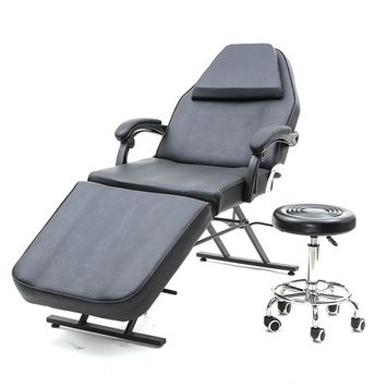 Adjustable Massage Bed Chair Beauty Spa Salon Barber Tattoo Chair W Swivel Stool
