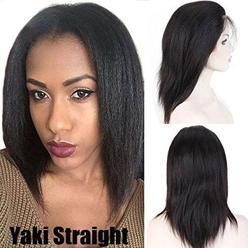 Italian Light Yaki Straight Glueless Lace Front Wig 100% Remy Human Hair Wig Pre Plucked With Baby Hair Long Natural Black For Women 10inch,130% Density