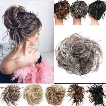 S-noilite Updo Messy Bun Hair Piece Scrunchies Synthetic Wavy Bun Extensions Band Elastic Scrunchie Chignon Ponytail Hairpiece for Women Dark black,45g [name: size value: size-45g]
